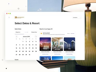 MGM Resorts: Room Booking 01 date picker hotel booking hotel booking ux desktop web design responsive html5 design animation ui