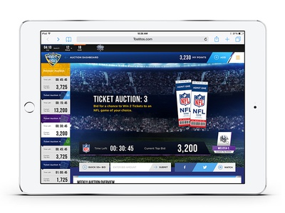 Auction Dashboard hyfn tablet mobile responsive html5 web design dashboard tickets nfl
