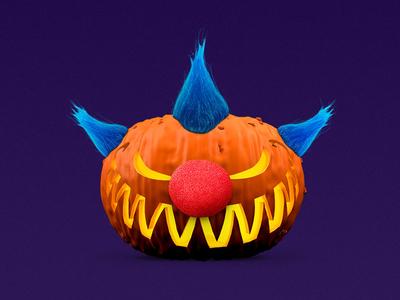 Scary Pumpkin c4d hyfn orange clown composite 3d halloween pumpkin