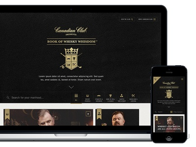 Canadian Club: Book of Whisky Whisdom hyfn mobile responsive design gold man paper whiskey drinks recipe html5 web design