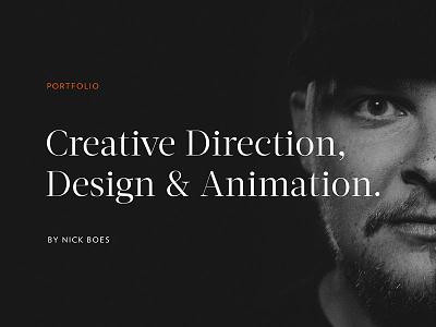 New Portfolio responsive design creative direction animation designer portfolio website