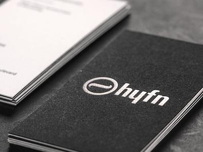 HYFN Business Card typography texture macro logo letterpress letterhead foil design deboss business card branding 100mm