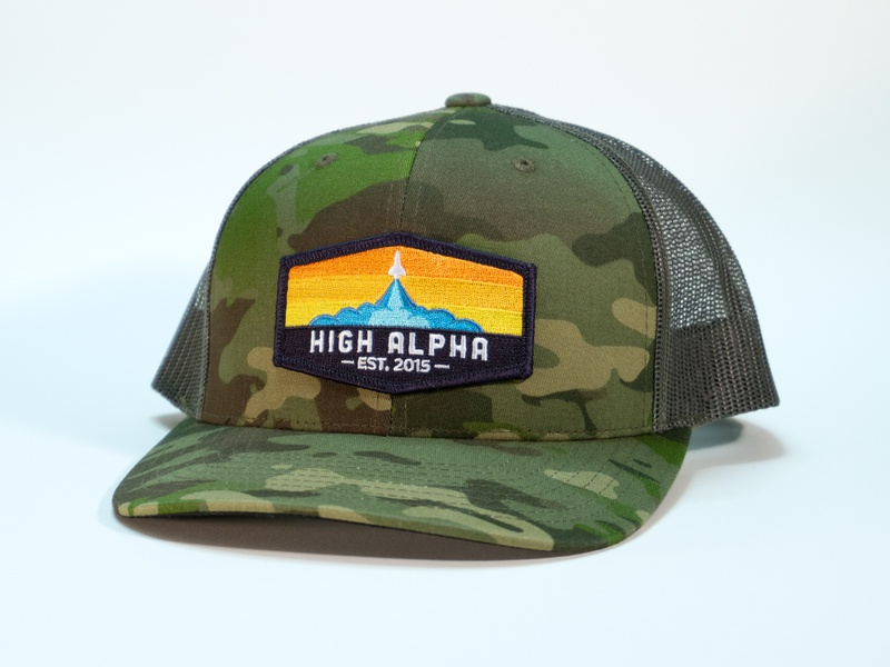 High Alpha camo snapback apparel branding camo high alpha badge patch hat