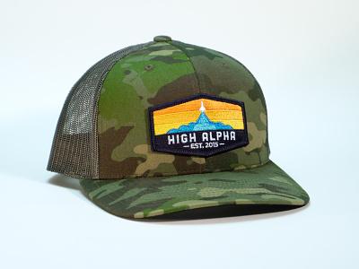 High Alpha camo snapback apparel branding camo high alpha badge patch hat