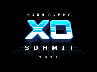 XO Summit logo exploration high alpha 3-d badge logo design arcade futuristic retro branding logo