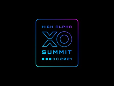 XO Summit logo exploration 3 logo design high alpha logo branding badge