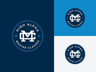 Master Classes monogram and badge design high alpha logo badge monogram