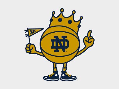 Notre Dame Bookstore Basketball Champs mascot illustration homefield basketball character mascot notre dame