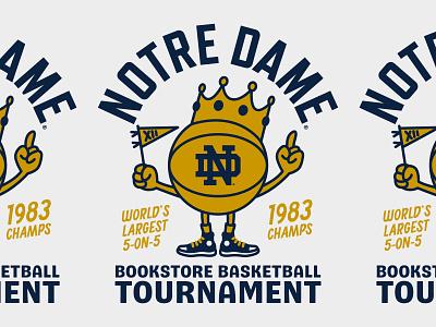 ND Bookstore Basketball Champs T-Shirt Design illustration badge t-shirt design character mascot basketball notre dame