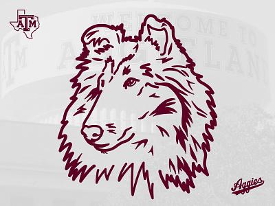 Miss Reveille, Texas A&M mascot illustration collie miss rev mascot dog