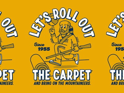 Let's Roll Out the Carpet homefield mascot illustration basketball wvu mountaineers west virginia