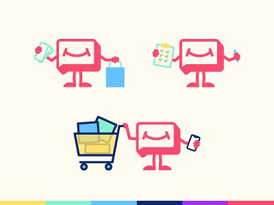 Humankind mascot poses icons shopping mascot illustration high alpha humankind