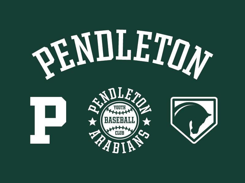 Pendleton baseball brand set logo sports badge branding word mark baseball
