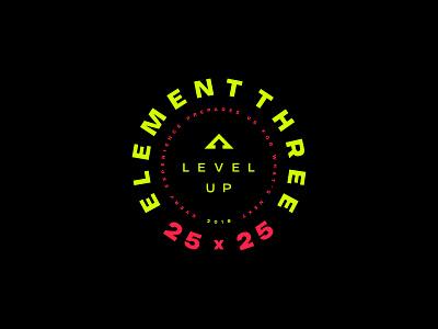 Level Up badge design patch branding illustration element three badge