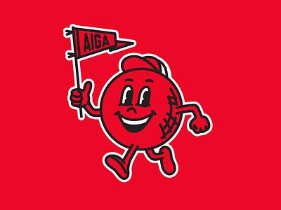 AIGA Indy kickball mascot pennant branding aiga mascot kickball