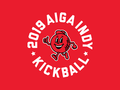 AIGA Indy Kickball badge agencies kickball badge design badge