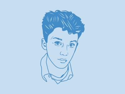 Anthony Michael Hall, Sixteen Candles movies vector portrait illustration romcom