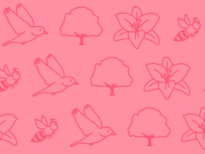 Birds, Bees, Flowers, and Trees pattern design bees birds vector illustration