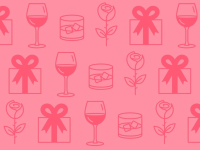 Wine and Dine vector illustration gifts wine roses bourbon