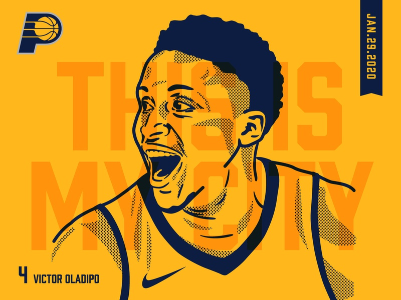 The Return of Oladipo basketball player sports portrait vector illustration basketball