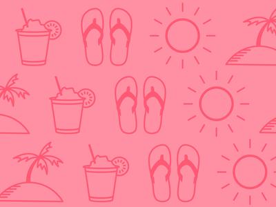 Honeymoon icons illustrations palm trees cocktails sun sandals honeymoon