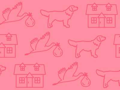 House, Kids, and a Golden Retriever vector illustrations kids house dog
