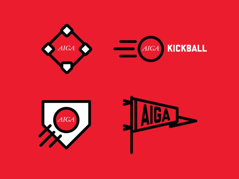 AIGA kickball branding vector illustrations icons branding sports kickball