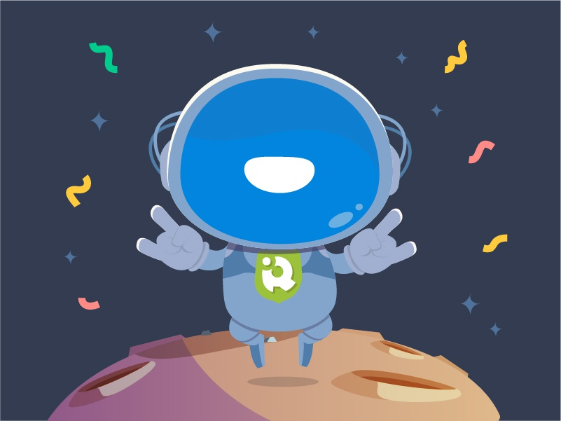 Illustration for Congratulations Email rock creative happy jump planet mascot character creation art concept email congratulations fun outerspace space astronaut character design adobe illustration