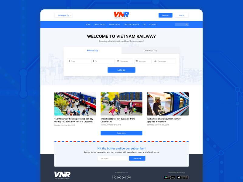 Vietnam Railway Website ui  ux train homepage newsletter ticket booking transportation vietnamese railway website sketch design adobe