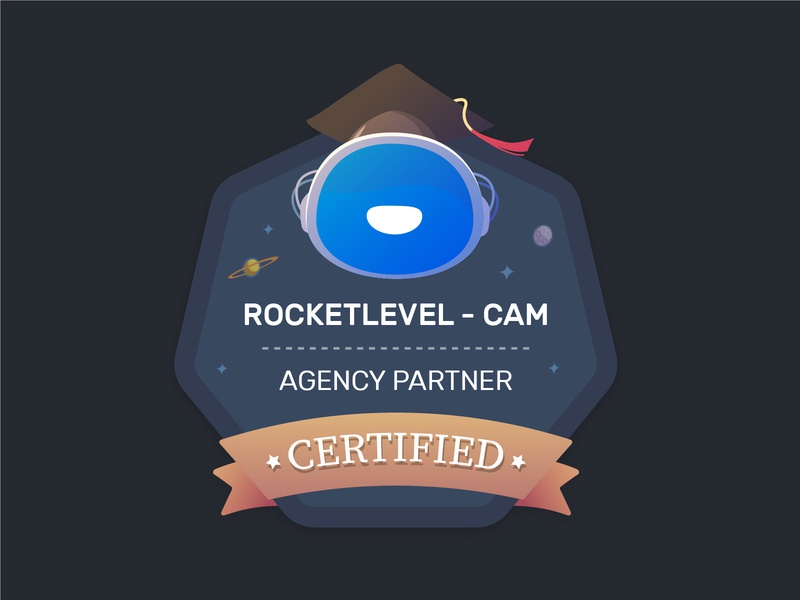 Agency Certified Badge astronaut space star graduation blue hexagon logo partner agency rocket certification certificate design badge