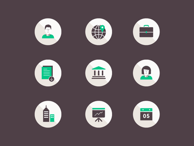 Brochure Icons woman user brown green business icon icons