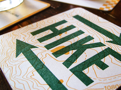 Beer Coasters for a Cause letterpress overprint topographic map design
