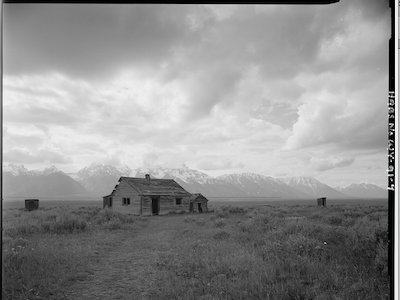 Architectural study near the Tetons for the NPS photography habs haer black and white bw historical preservation