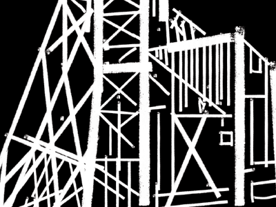 Detail of a gold mine headframe illustration high contrast mining line art illustration
