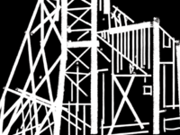 Detail of a gold mine headframe illustration
