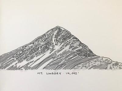 Mt. Lindsey, Colorado peak line art ink drawing colorado mountain