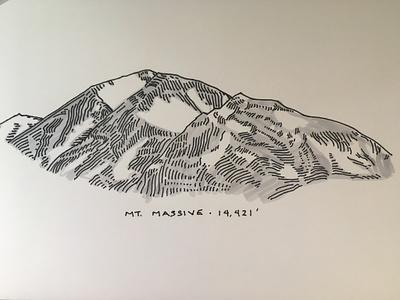 Mt. Massive, Colorado mountain ink illustration colorado ink drawing