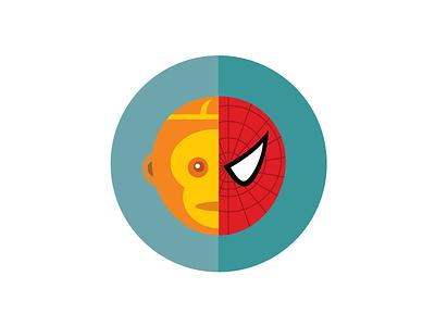 Monkeykingvsspiderman illustration fun graphic icon cute