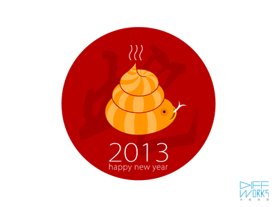 Happy New Year 2013 Snnnnnnk happy new year 2013 snake monster fun toy character animal drawing illustration diffworks