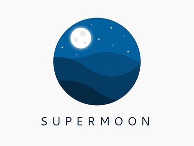 SUPERMOON stars dark blue design night moon supermoon
