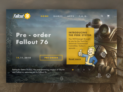 Landing Page Fallout 76 (above the fold) Daily Ui #003