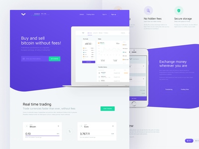 CoinFalcon landing page - Cryptocurrency exchange coin finance currency crypto lp web ux ui exchange cryptocurrency website landing page