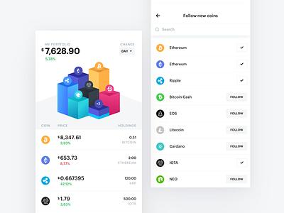 Bloko.io – Bitcoin & Altcoin Portfolio tracker cryptocurrency crypto bitcoin blocks chart exploration interface ios ux ui app