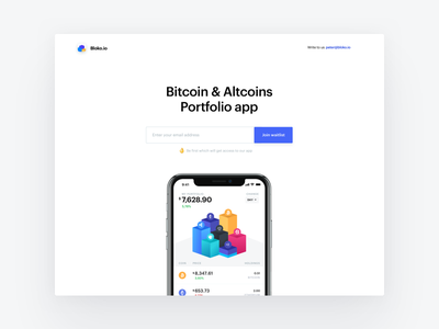 Bloko.io – Bitcoin & Altcoin Portfolio tracker – Landing Page cryptocurrency crypto bitcoin blocks chart exploration interface ios landing page landing ui app