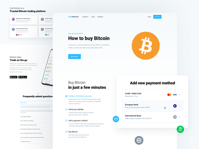 Cryptocurrency Exchange - How to Buy Bitcoin finance crypto bitcoin web cryptocurrency landing page
