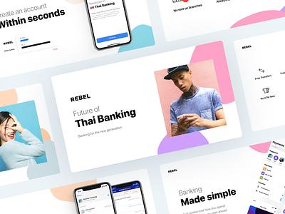 REBEL - Banking made simple fintech banking application app web ui