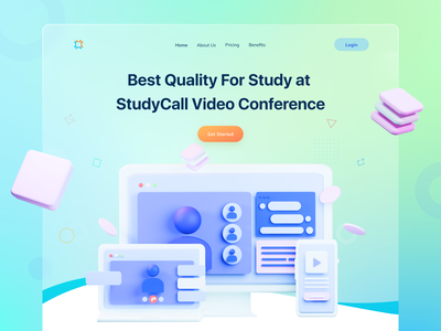 Video Conference For Study vector branding motion graphics graphic design 3d animation ui logo ux modern minimal illustration design app