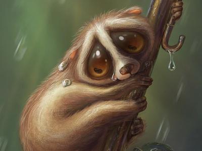 Slow loris with a tiny umbrella animal rain tree drop tears slow loris character ilustration