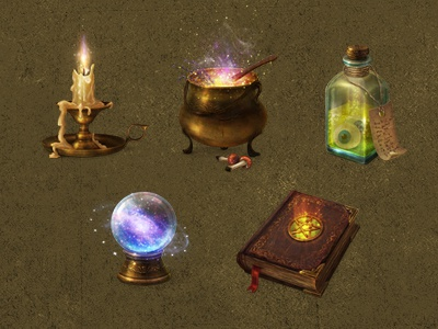 Magic icons  magic icon gold spellbook candle orb cauldon ilustration