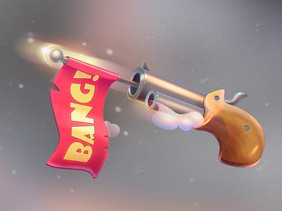 """""""Bang!"""" illustration shot gun wood typography design illustration icon game ui"""
